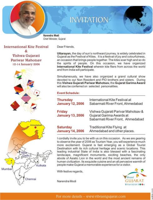 Flyer for Gujarat Kite Festival