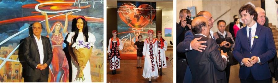 Известный художник Джамаль Бадван, Директор фонда Сердце Мира Янина Шевченко и министр культуры Украины, Евгений Нищук