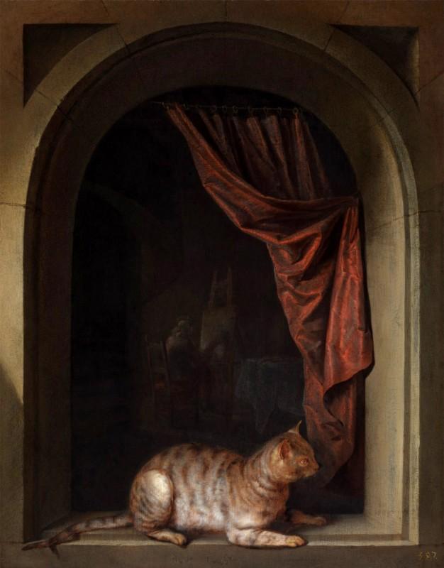 Кошка, присевшая на подоконник в мастерской художника, 1657