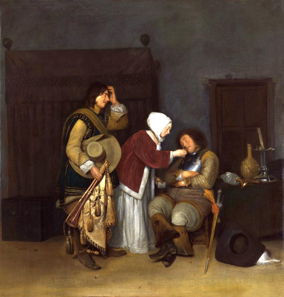 + Герард Терборх. Дама щекочущая соломинкой спящего солдата. Около 1655