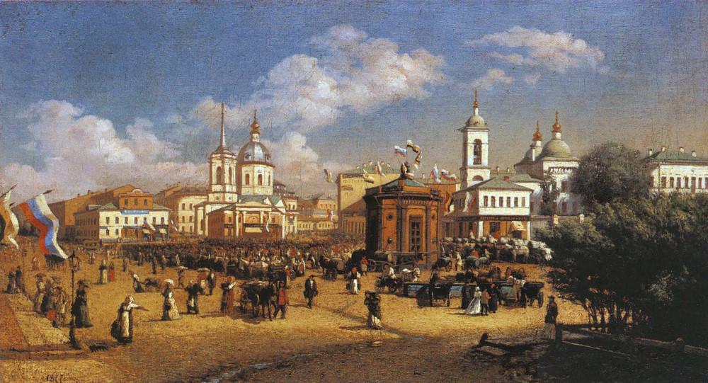 Ярмарка на Арбатской площади, 1877 год Слева — церковь Бориса и Глеба, справа Тихона Амафунтского А.П. Розанов