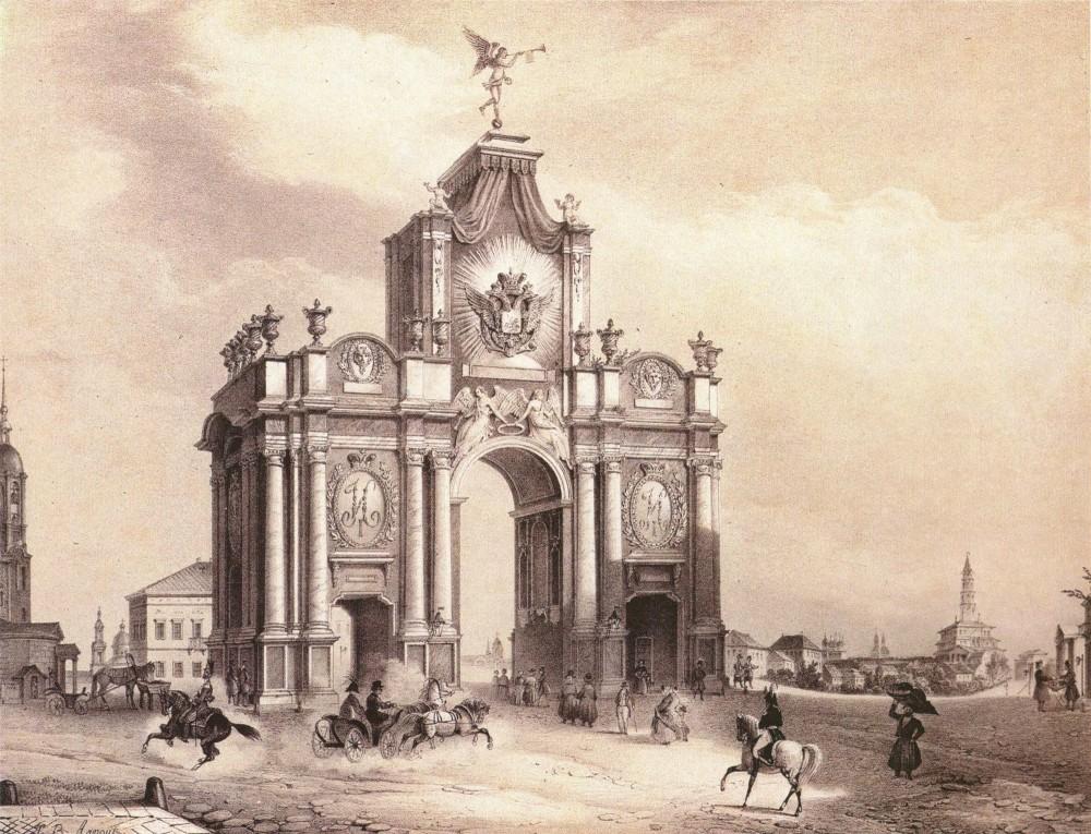 Вид Красных ворот, 1850 год Jean-Baptiste Arnout (1788-1865) По рисунку И. И. Вивьена