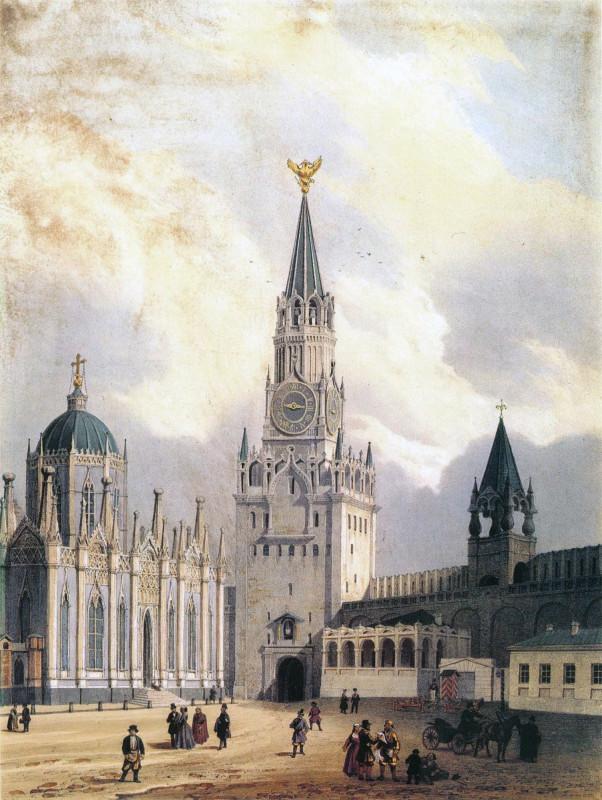 Вид Спасской башни и Вознесенского монастыря, 1846 год Jean-Baptiste Arnout