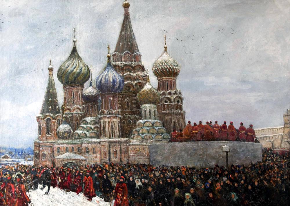 Стрельцы у собора Василия Блаженного