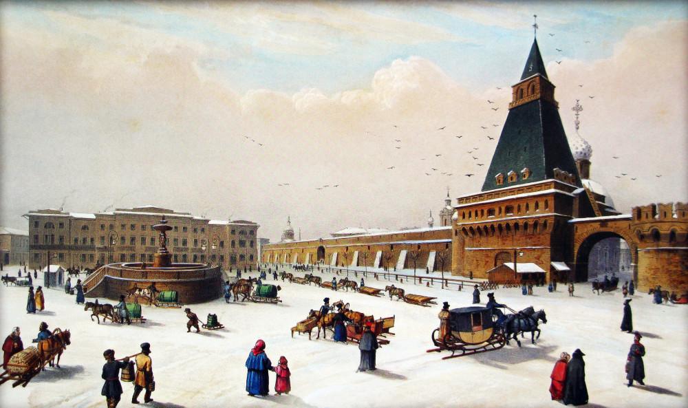 +Вид Лубянской площади, 1840 год Луи Пьер-Альфонс БИШЕБУА