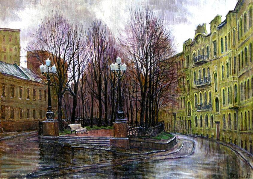 -В.Качанов. Яуский бульвар. Ноябрь,дождь.1985.