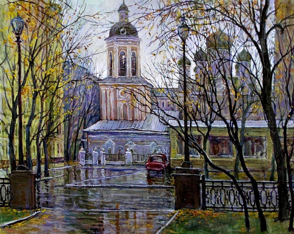 -В.Качанов.Вид на ц.Иоанна Богослова с Тверского бульвара.1992. -