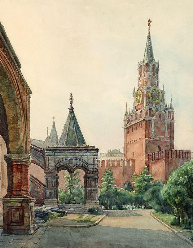 -Вид от Покровского собора на Московский Кремль Д.МЕЛЬНИКОВ