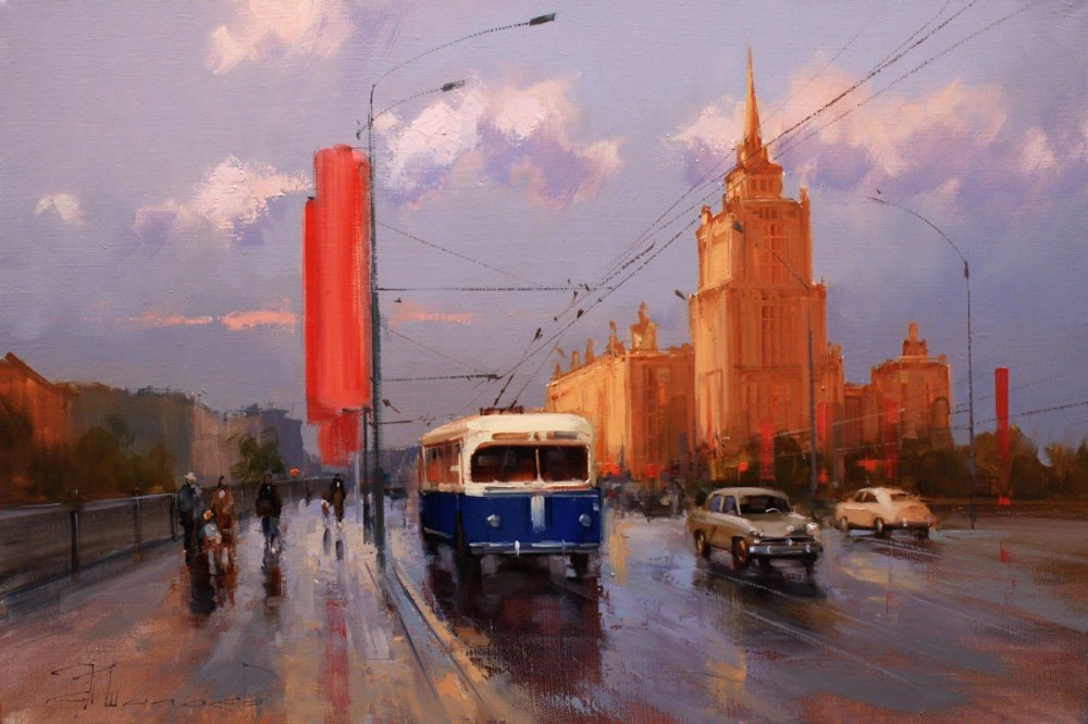 Красный октябрь, синий троллейбус. Новоарбатский мост. Старая Москва. Шалаев Алексей