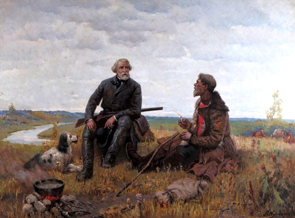 Л. Курнаков. И.С. Тургенев на охоте. 1950-е годы