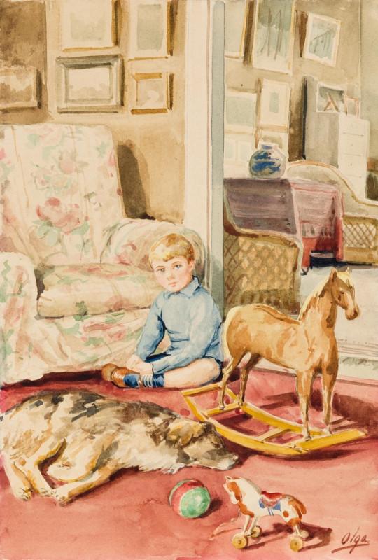 Портрет сына с собакой и игрушками