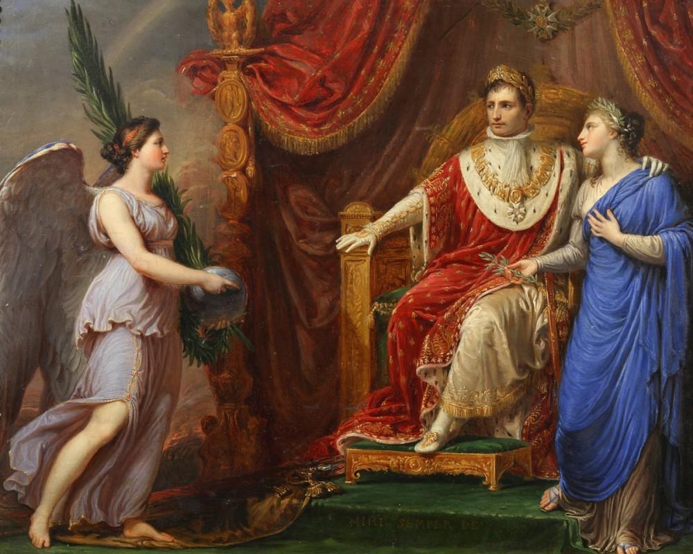 Наполеон на троне с аллегорическими фигурами мира и победы 1806 год