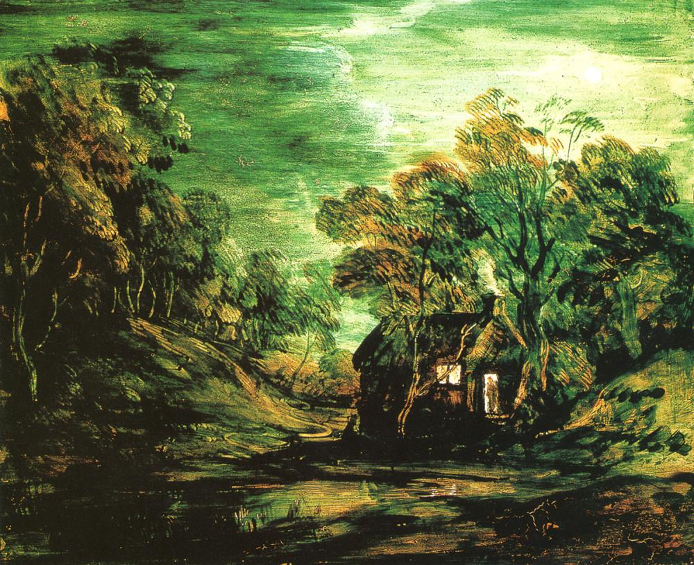 лунный пейзаж с домиком