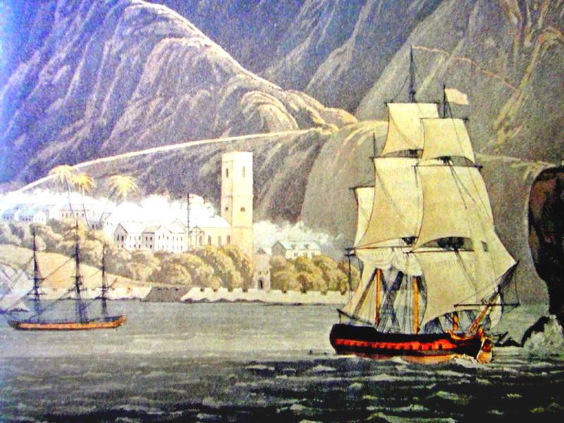 Прибытие в залив Джеймс, гравюра 1815 года.