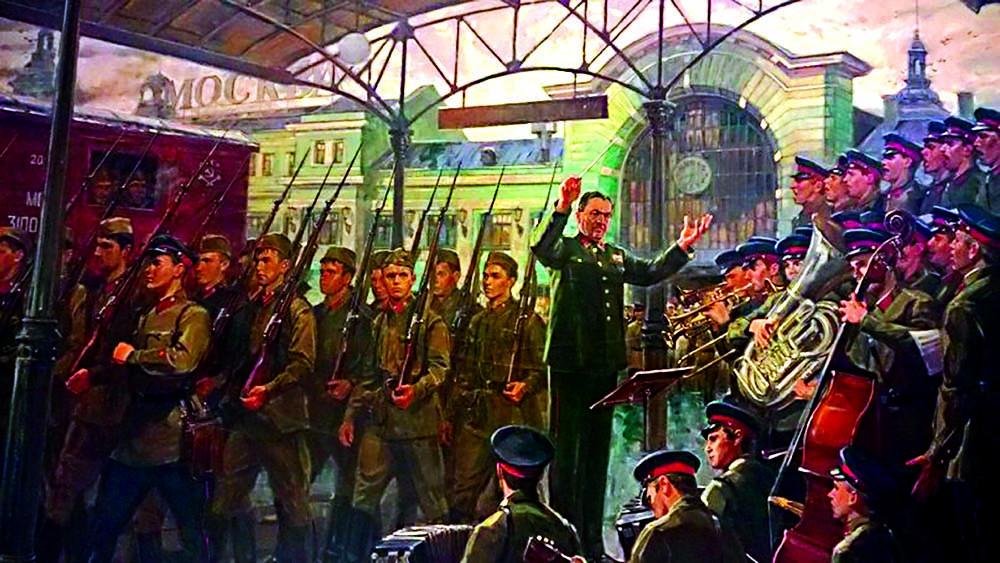 26.06.Ансамбль Александрова на Белорусском вокзале, 26 июня 1941 г., художник Д.А. Ананьев