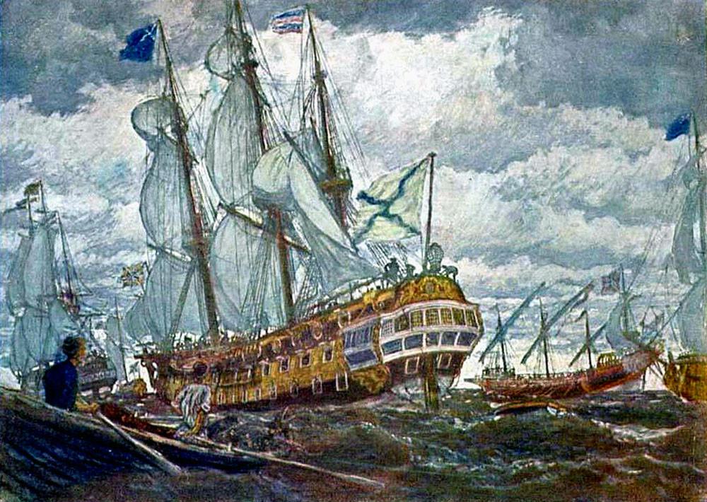 Корабли времен Петра I.