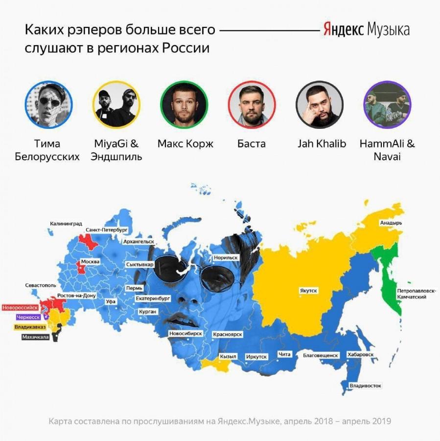 Реперы по регионам России: предпочтения слушателей Источник: ЯндексМузыка