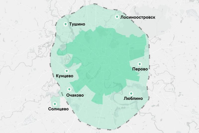 P.S. На карте города поглощённые Москвой в XX веке. Тёмно-зелёным – Москва до 1960-ых. Метками отмечены местоположения поглощённых городов