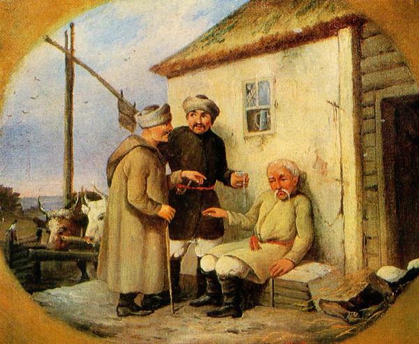 728px-Чумаки_возле_корчмы.Неизвестный_художник.1840-е