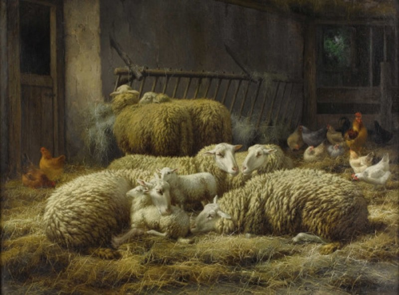 Eugene Remy Maes. 1849- 1931 Sheep and chickens in a barn