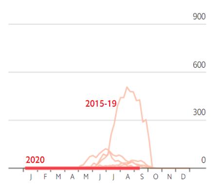 НОВАЯ ЗЕЛАНДИЯ.Жирная красная линия - заболеваемость гриппом в 2020г. Бежевые линии – заболеваемость гриппом в 2015-2019гг. J-январь. F-февраль и т.д.