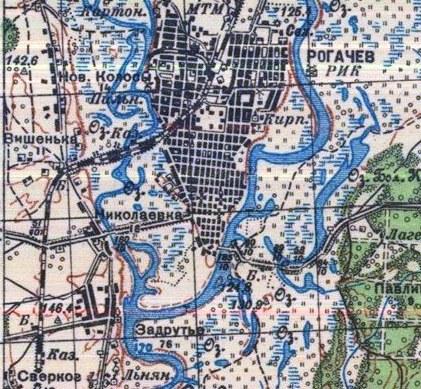 Рогачев 1936 год  мосты через Друть и Днепр