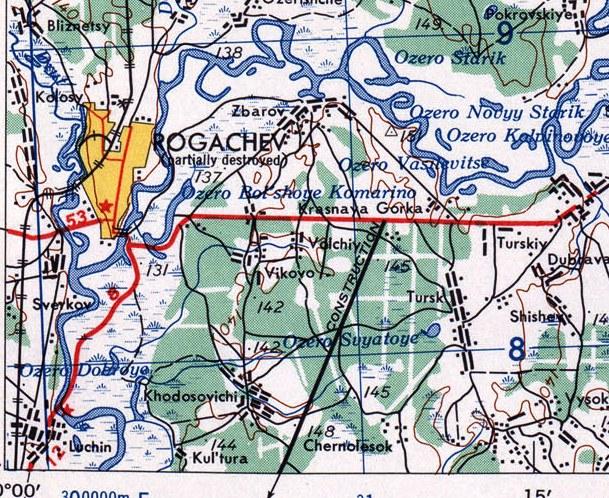 nn36-7 Американская карта в 1 см 2,5 км 1954 г Мост через Днепр
