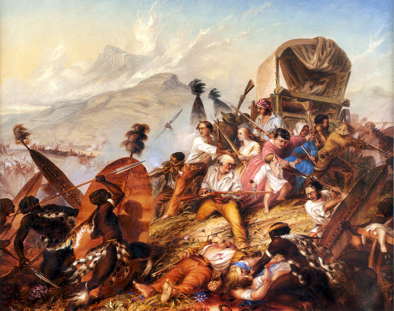 Charles_Bell.Depiction of a Zulu attack on a Boer camp in February 1838.