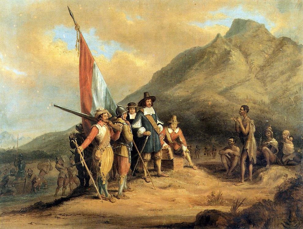 Прибытие Яна ван Рибека в Столовую бухту в апреле 1652 года. Anthony Preston.