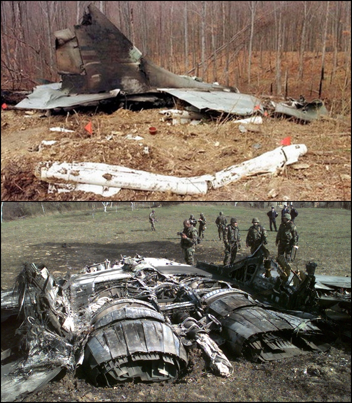Serbian MiG-29 wreckage after being shot down by NATO jets in 1999