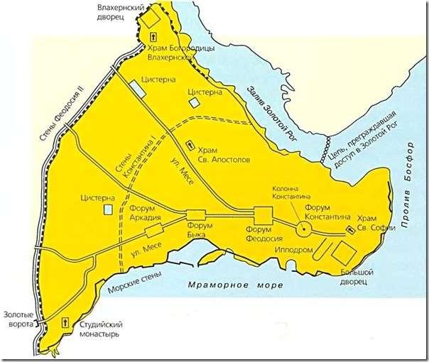 План стен Константинополя