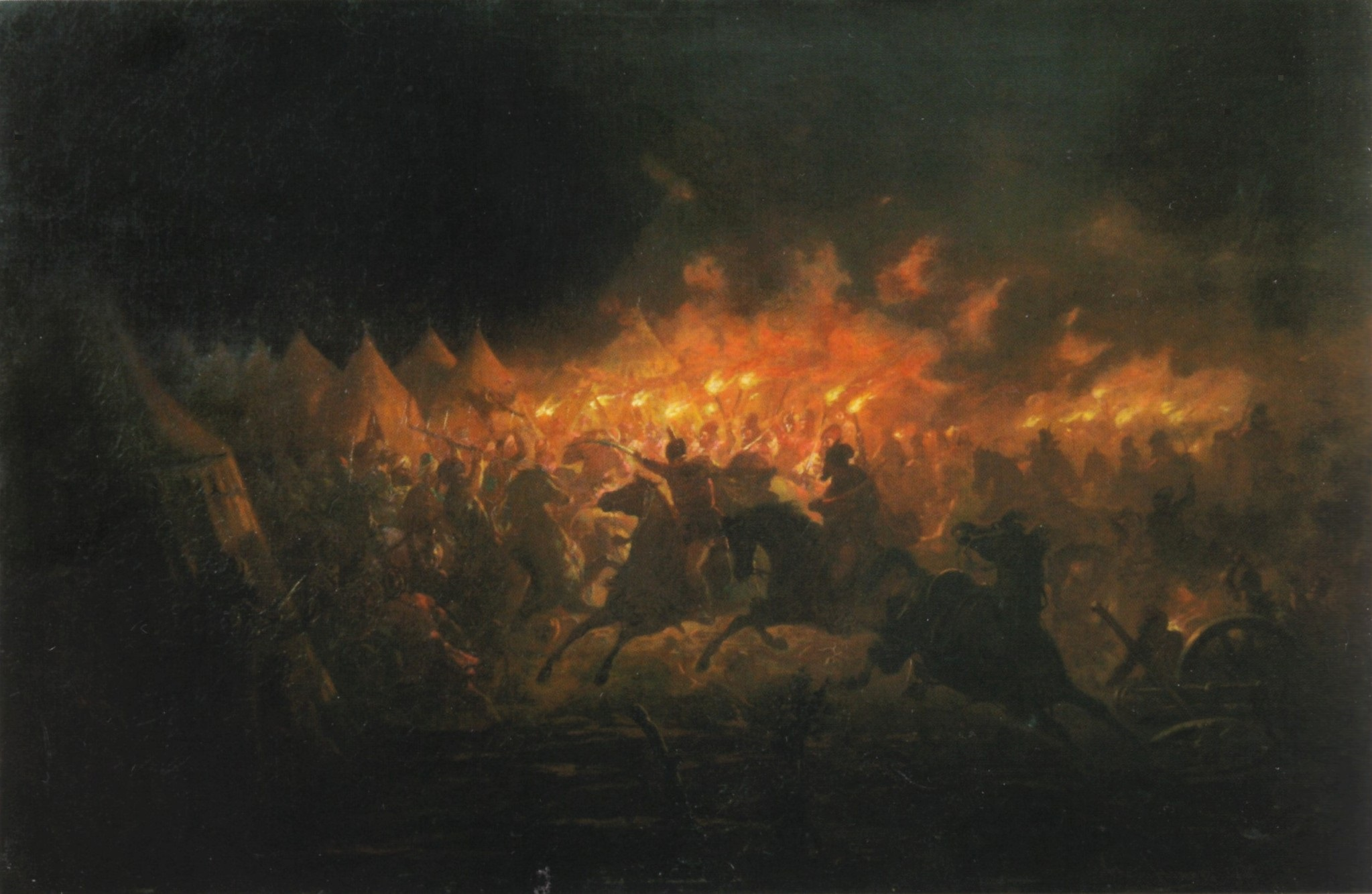 The Battle With Torches by Romanian painter Theodor Aman