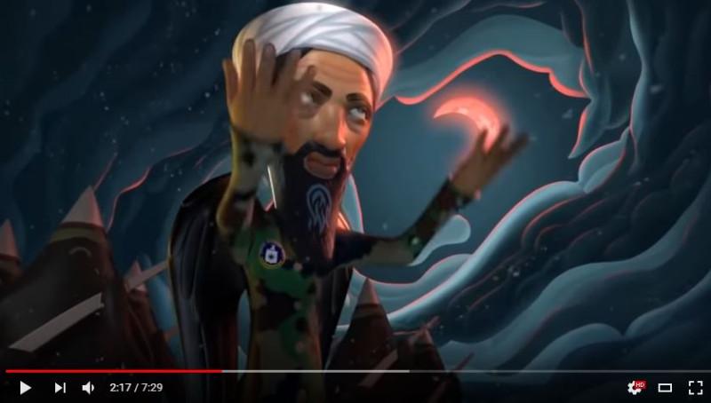 Справа от Бен Ладена в облаках очертания головы черного дракона, смотрящего ввеху вниз.