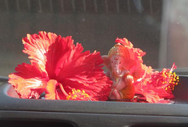 Ганеша в красных цветах
