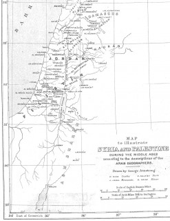 Palestine (Filistin) during the middle ages, an 1890 map