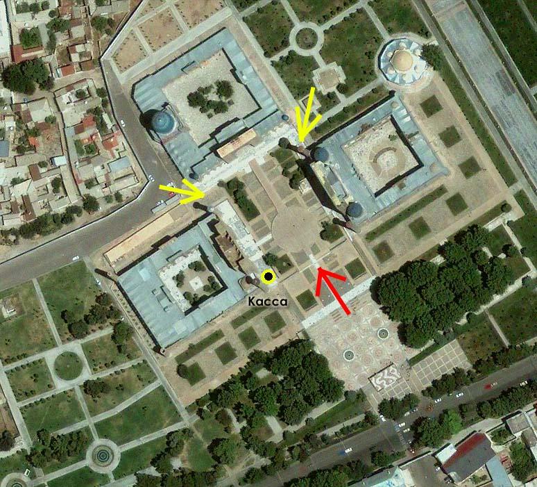 Площадь Регистан в Самарканде, вид с высоты