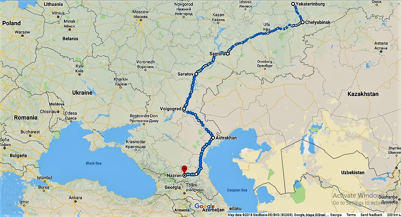 By train from the Urals to the North Caucasus (Russia) city, Nazran, Volgograd, Ingush, Nazran, Today, Astrakhan, very, city, Georgia, between, war, Volga, Northern, Ossetia, Russia, train, train, part, conflict