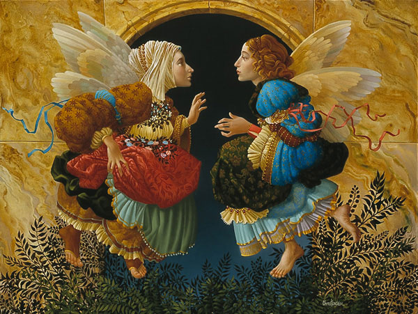 angels discussing the paintings of boticelli