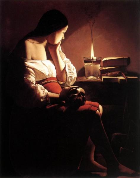 Жорж де ла Тур.Святая Магдалена со свечой.