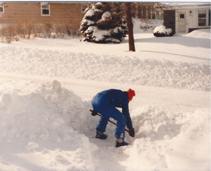 Jay shoveling snow