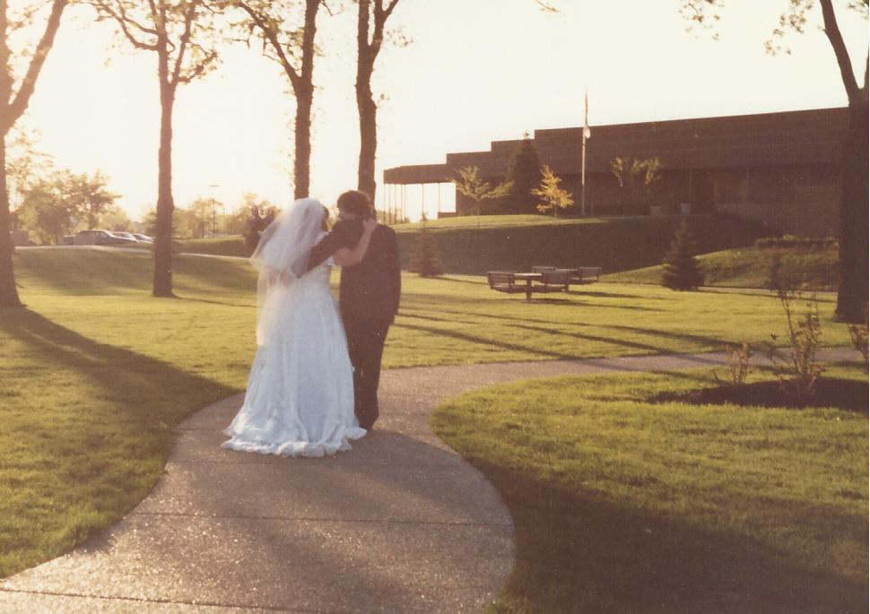 Karen and Alex walking wedding