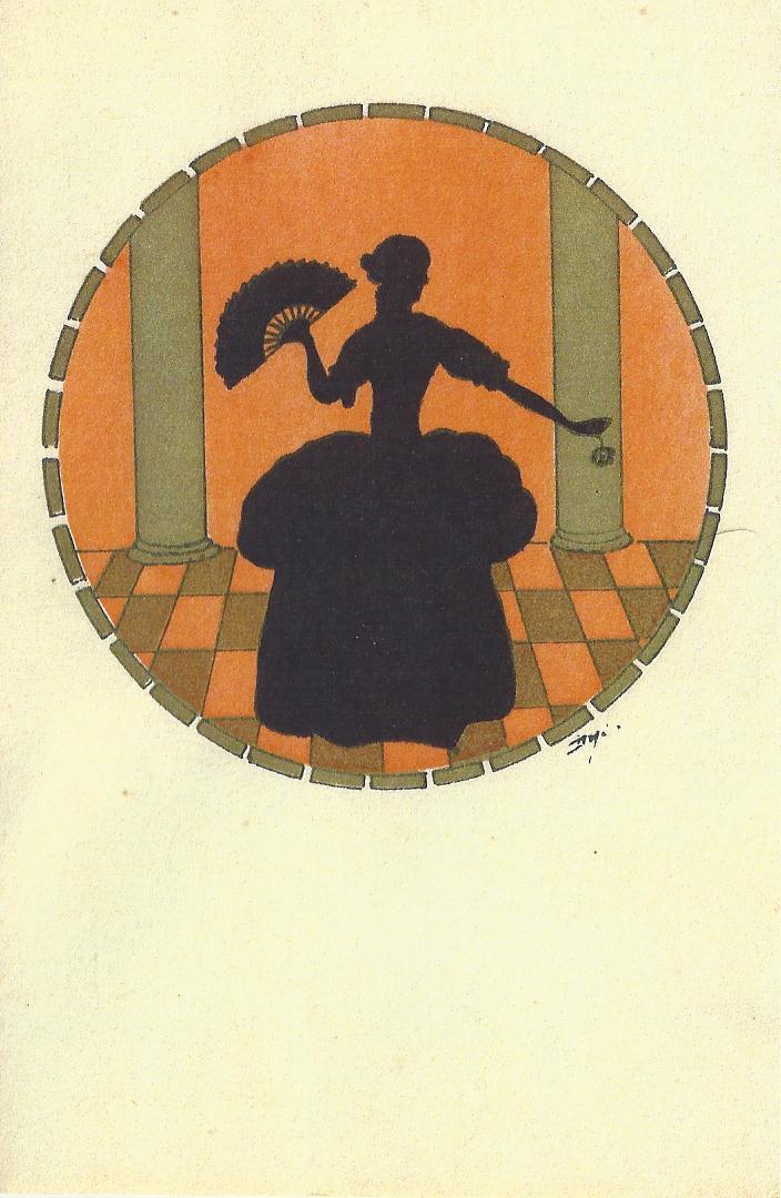 dame with the crinolin dress