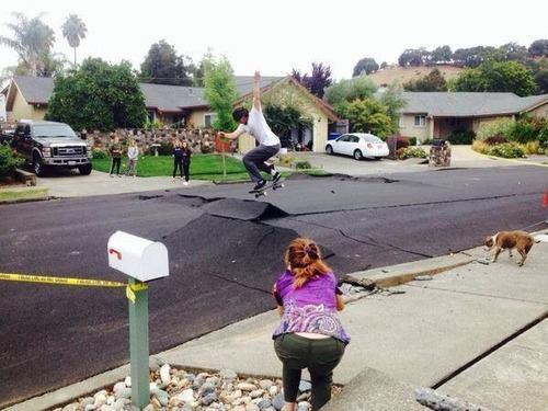 earthquake road cracks