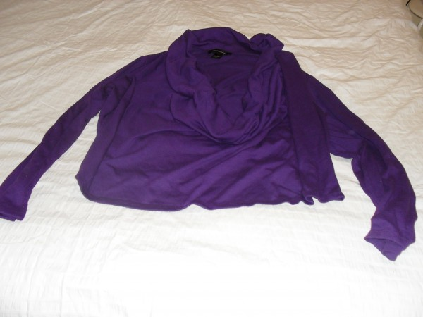 47b42bab23e Ashley Stewart asymmetric hem cowl neck sweater in purple. Long sleeve