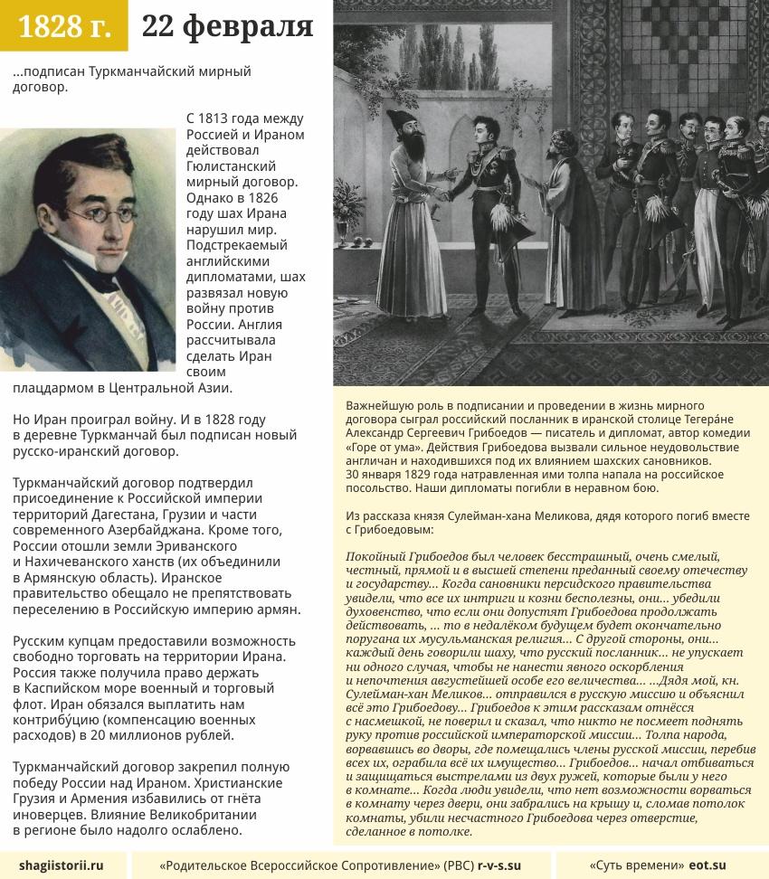 Шаги истории: 22 февраля, 1828 года