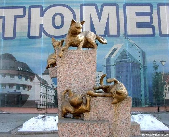 Памятник сибирским кошкам, г. Тюмень