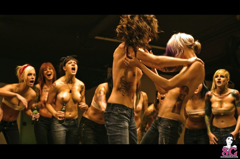 All girl topless fight club, milfs with big tits