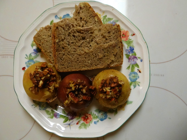 Caramel Apple and Pecan Bread with Nut-Filled Baked Apples