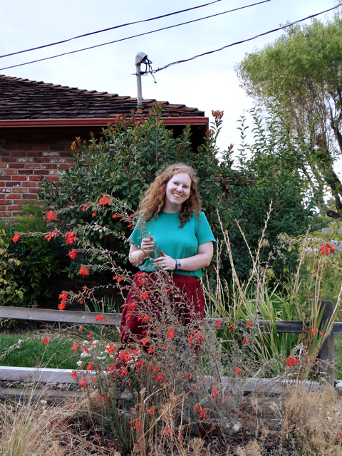 me with Epilobium canum 'Carman's Gray' (California fuchsia)