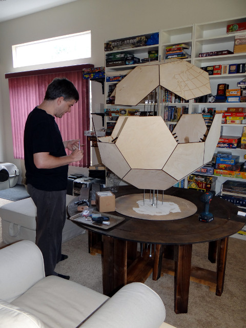 Barry building a game table and 3D game board